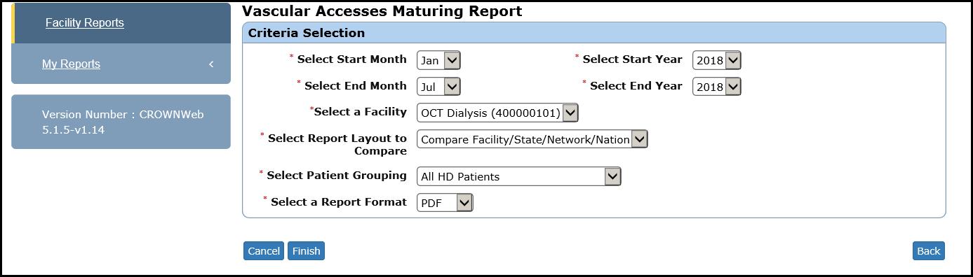 Generate a Vascular Access Maturing Report