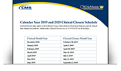 Calendar Year 2019 and 2020 Clinical Closure Schedule