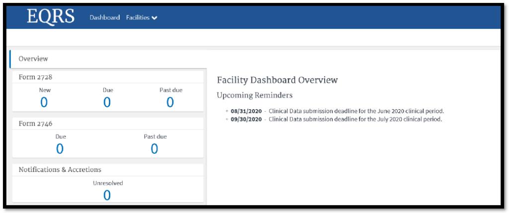 Sample facility dashboard screenshot